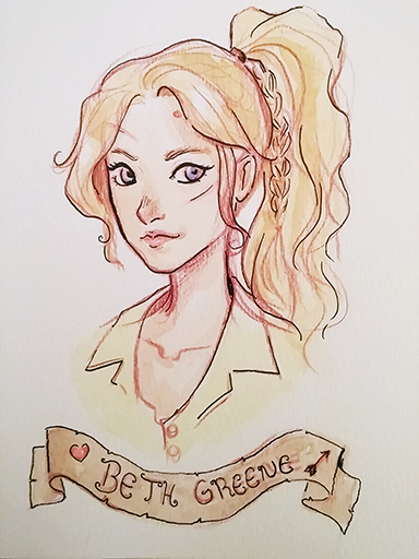 Beth Green Watercolor portrait by Ratgirlstudios
