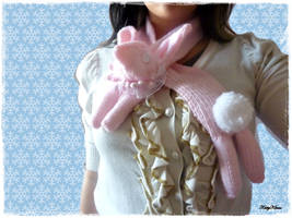 Pink Bunny Scarf by Cateaclysmic