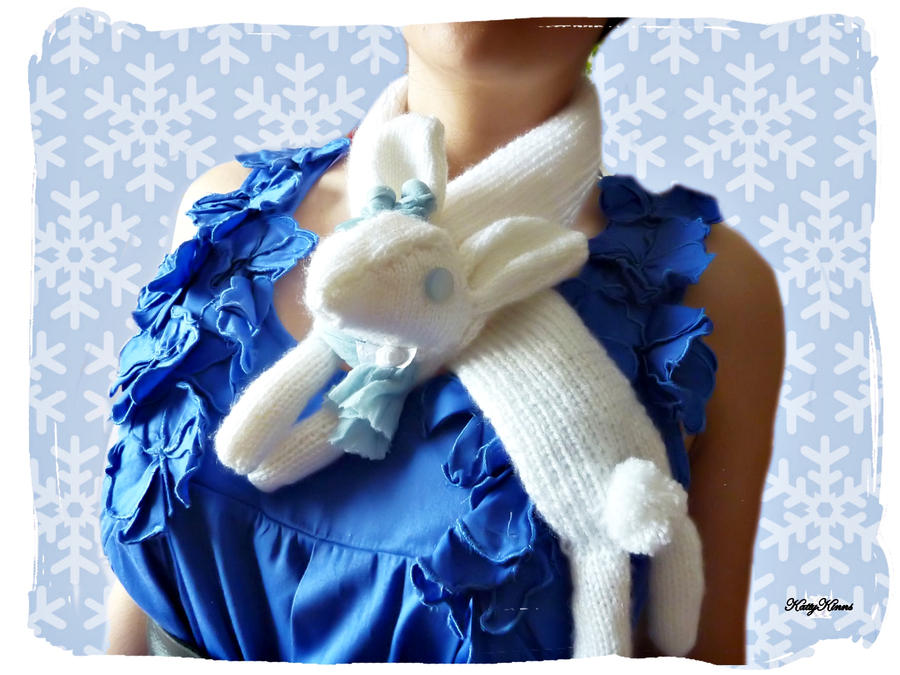 Winter Snow Bunny Scarf by Cateaclysmic