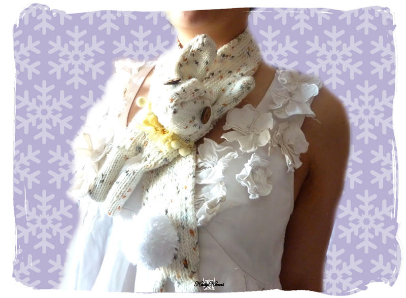 Cream Vegan Bunny Scarf by Cateaclysmic