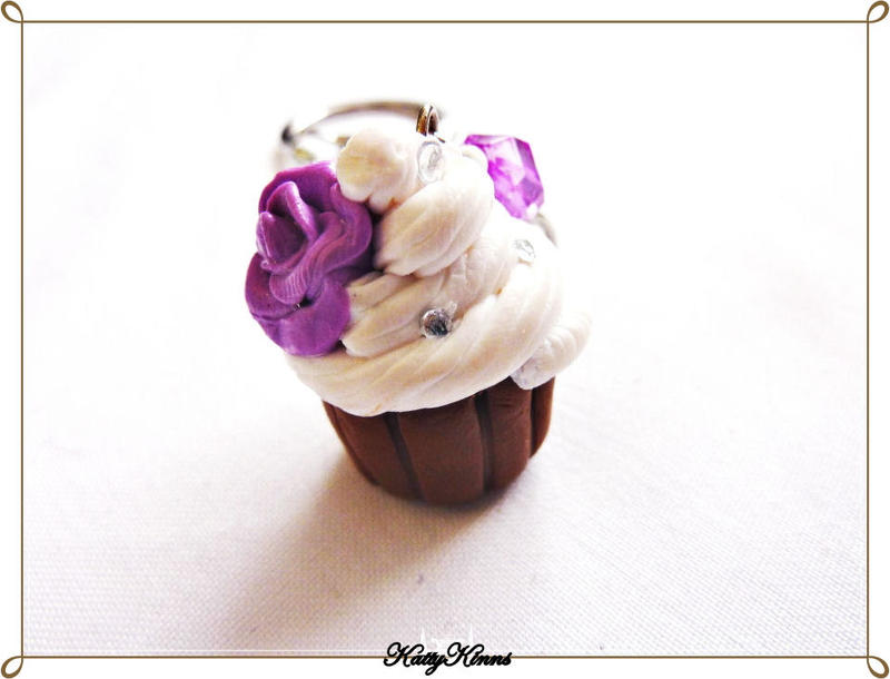 Lavender Rose Cupcake Keychain by Cateaclysmic