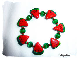 Watermelon Slice  Bracelet by Cateaclysmic