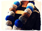 Winter Blues Pom Pom Scarf by Cateaclysmic