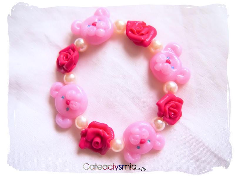 Pink Rose Teddy Bear Bracelet by Cateaclysmic