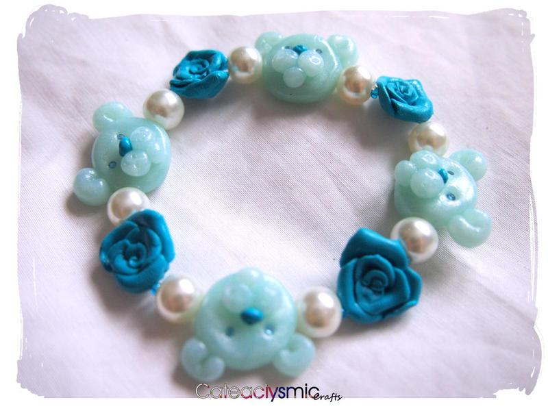 Pink Roses With Teddy Bear Blue Rose Teddy Bear Bracelet