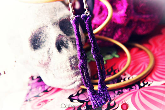 Sparkly Glittery Skeleton Bone Earrings