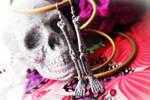 Silver Glitter Skeleton Leg Bone Earrings
