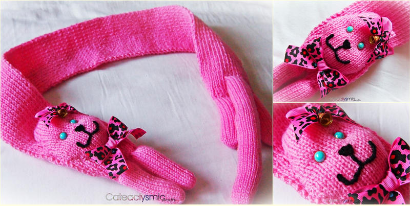 Pink Kawaii Kitty Scarf by Cateaclysmic