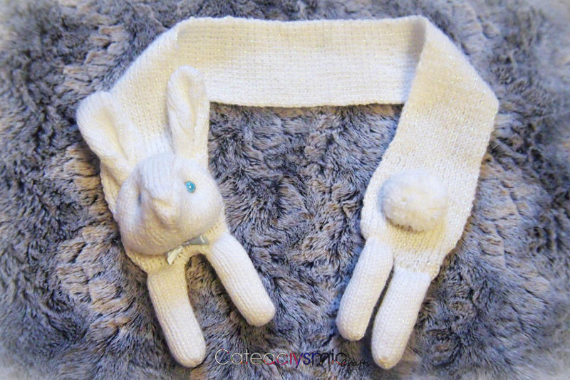 Winter Snow White Sparkly Bunny Scarf by Cateaclysmic