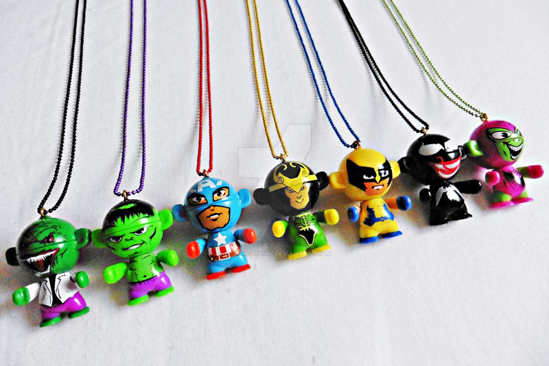Marvel Chibi Figure Necklaces by Cateaclysmic