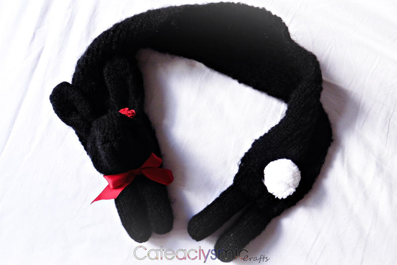Black Bunny Rabbit Scarf with Red Roses by Cateaclysmic
