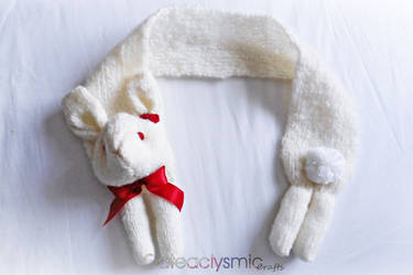 Fluffy Bunny Scarf with Red Roses