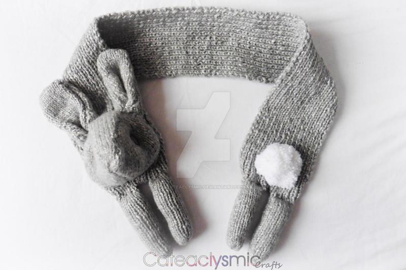 Silver Grey Bunny Rabbit Scarf by Cateaclysmic