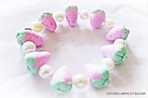 Pink Strawberry Bracelet by Cateaclysmic