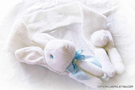 Snow White Bunny Scarf with Ice Blue Bow