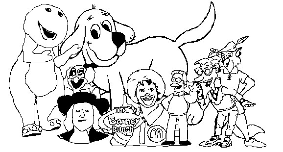 barney and friends coloring pages - barney bunch coloring page by robinhoodforlifeftw