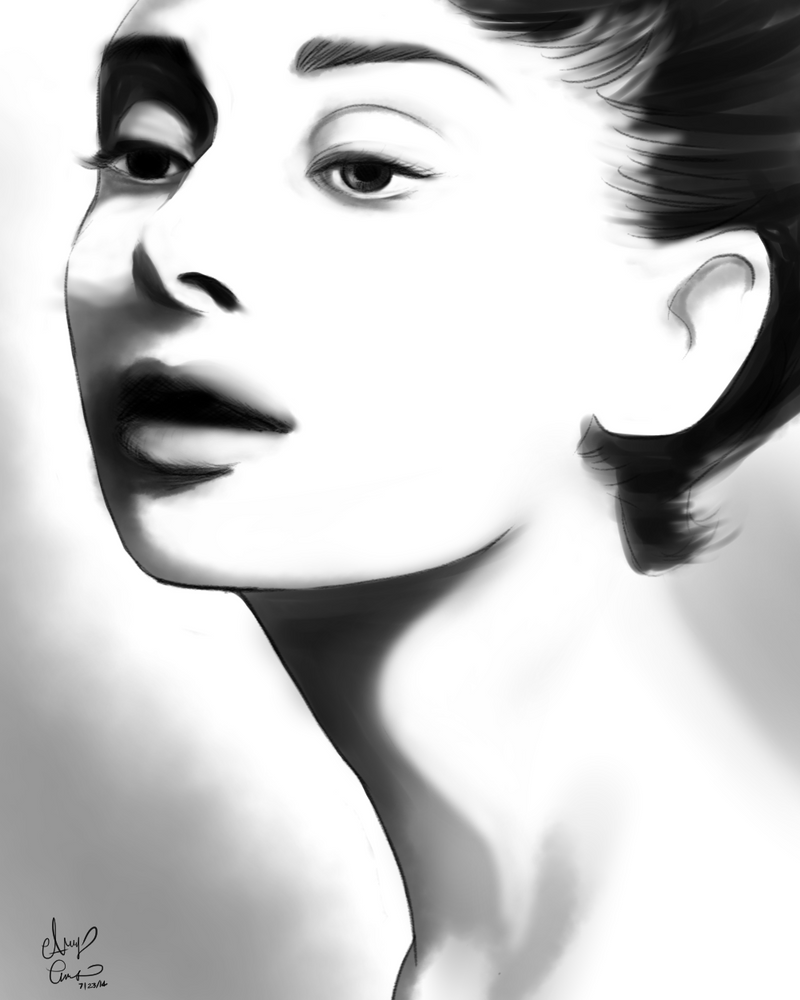 Audrey Hepburn BW Portrait by Pink-world