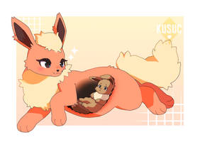 Flareon and a yummy Eevee by kusuc