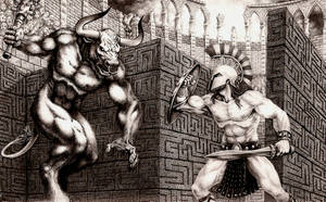 THESEUS AND THE MINOTAUR by aka-maelstrom