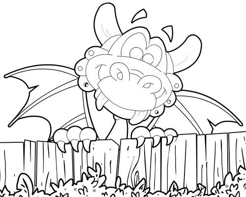 Baby Dragon and Fence