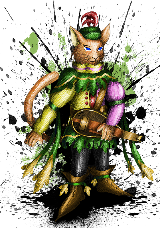 Tybalt the cat - Character design by sudro