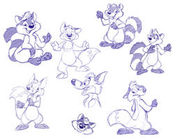 Raccoons and Foxes by crazyyellowfox