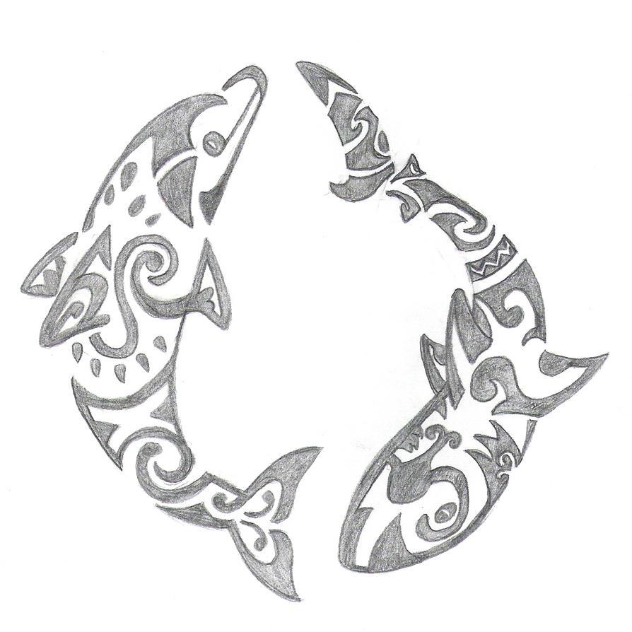 Dolphin And Shark Tatoo Design By Sari Akuma Ookami On