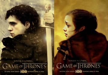 Game of Thrones - Jon + Arya by riogirl9909