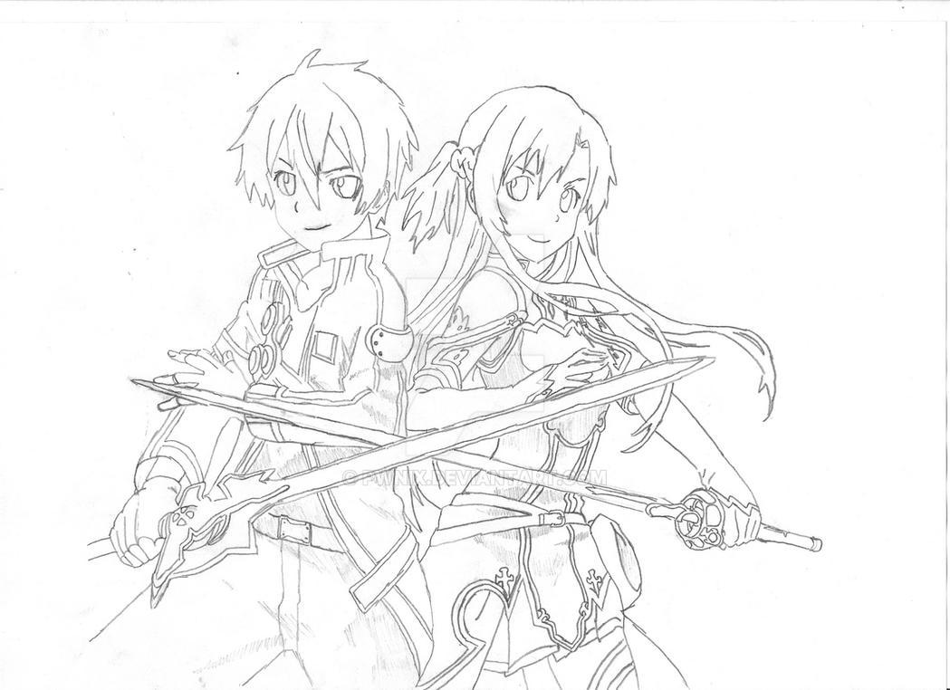 Kirito And Asuna Kiss Coloring Pages