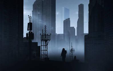 Gloomy city by day by Nissara