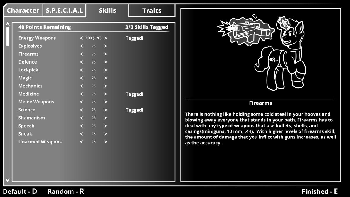 Fallout Equestria Skills Menu by ThisHomeBoy24