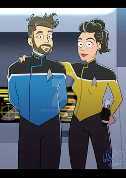 Hubby and me as officers on Lower Decks