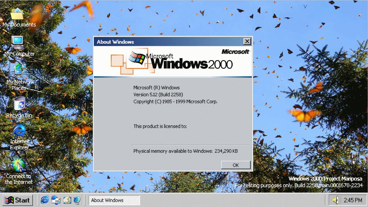 Windows 2000 Project Mariposa Desktop (Winver) by GlitchMadness256