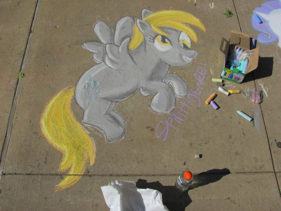 Derpy Hooves Chalk drawing by SpirittigerRei