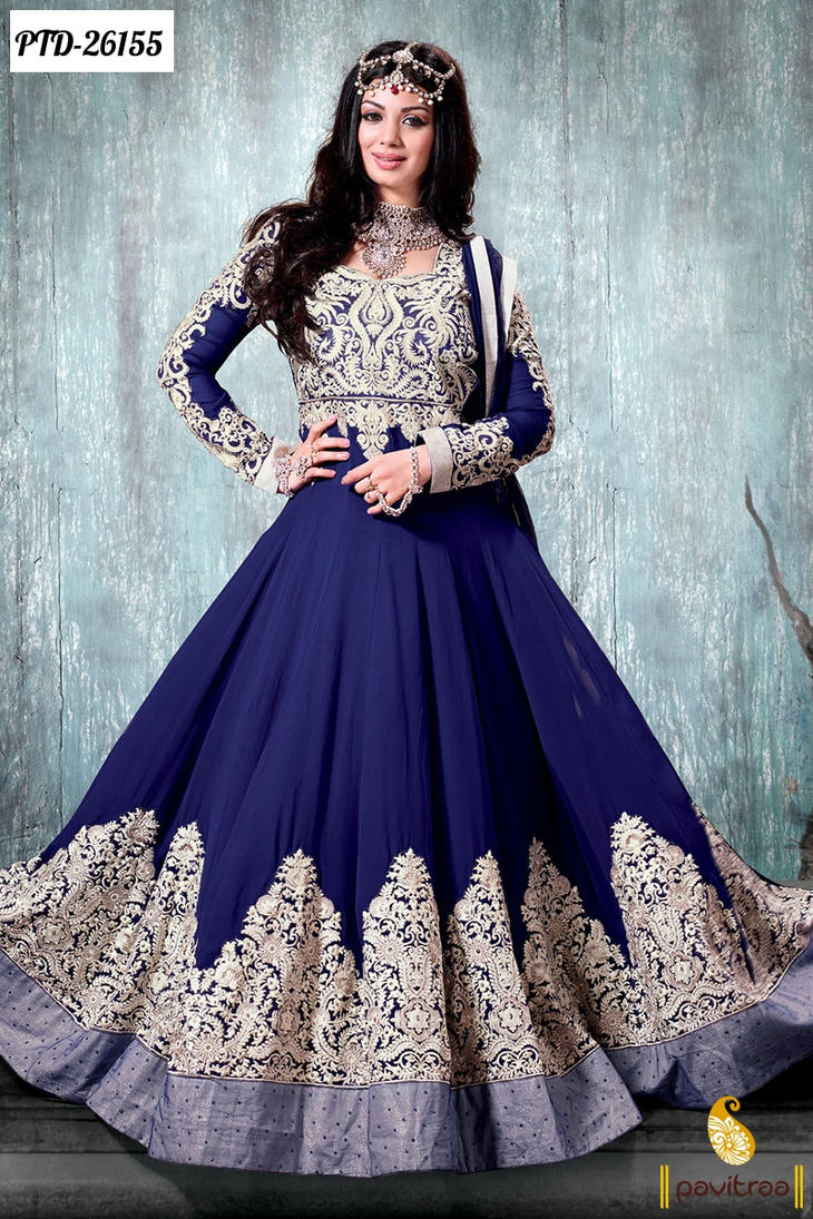 Blue Designer Bridal Anarkali Salwar Suits by Pavitraa on DeviantArt