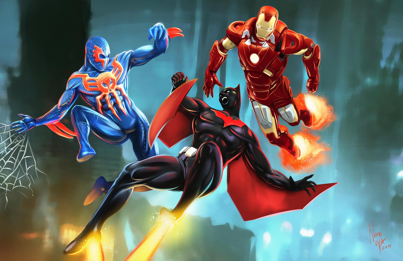 Iron Man 2099 Armor Batman beyond  spider-man 2099Batman Beyond Vs Ironman