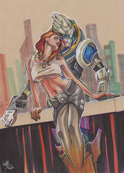 Jane and Garrus V.2. Coloured by Nova-MadArt