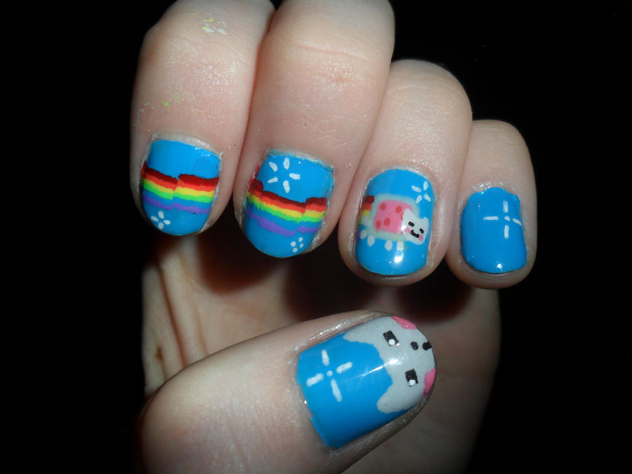 Nyan Cat Nails part#2 by JennyBean4u