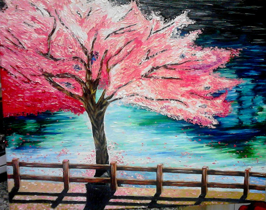 Cherry blossom tree by smjimenez18 on deviantart for Cherry blossom mural works
