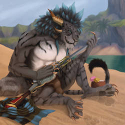 On the beach by Liraelwolf