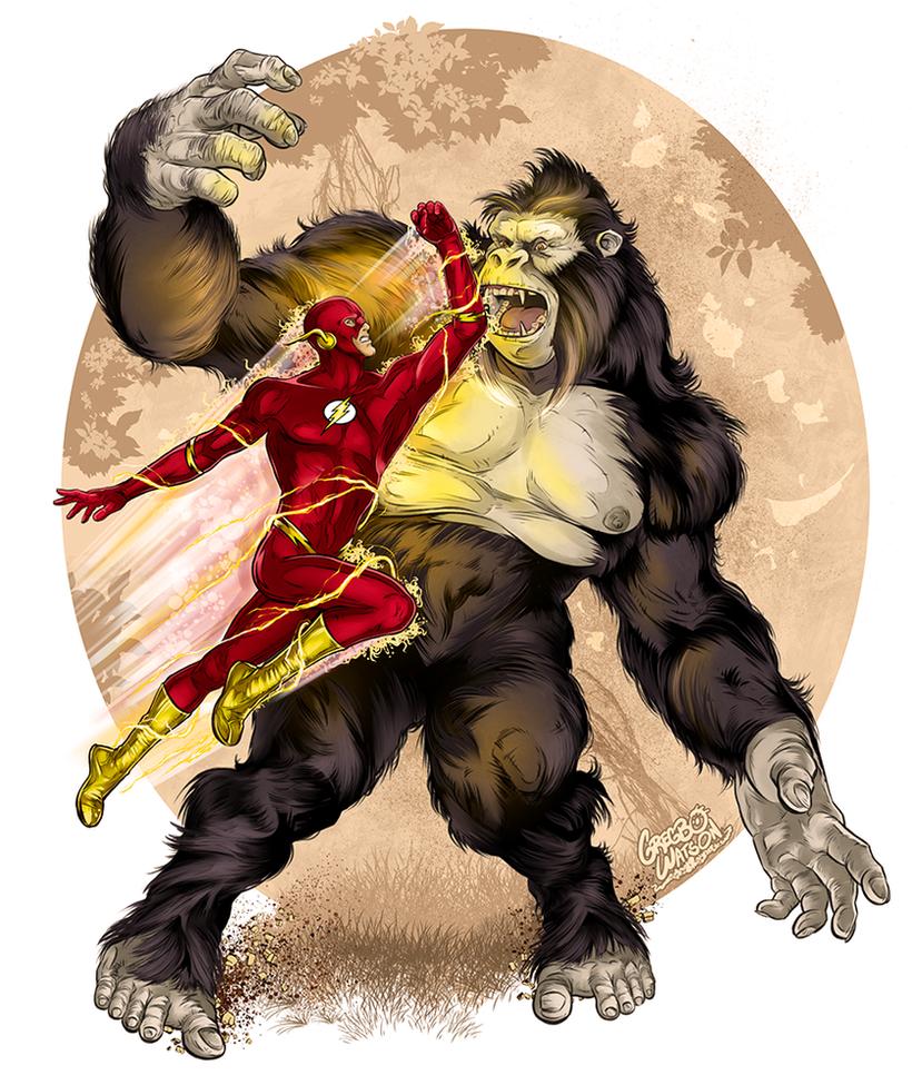 The Flash vs. Gorilla Grodd by gregbo