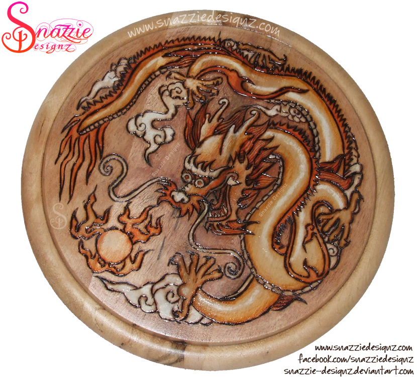 Dragon Pyrograph (Woodburning) by snazzie-designz