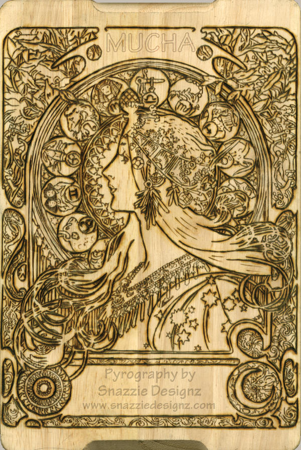 Mucha Pyrograph (Woodburning) Outline