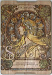 Mucha Pyrograph (Woodburning) - Coloured In