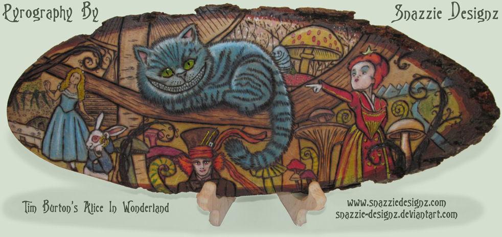 Alice in Wonderland Pyrograph (Woodburning) by snazzie-designz