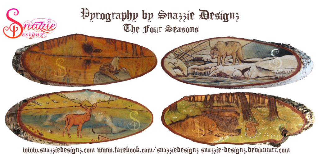 4 Seasons Pyrography Series by snazzie-designz