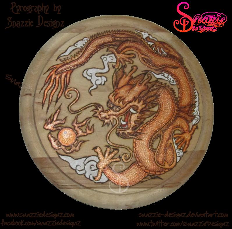 Copper Dragon Pyrograph (Woodburning)