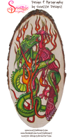 Phoenix and Dragon Pyrograph (Woodburning)