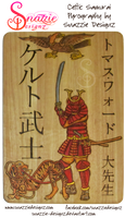 Celtic Samurai Pyrograph (Wood Burning) by snazzie-designz