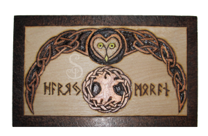Celtic Owl Runebox Lid Pyrograph (Woodburning) by snazzie-designz